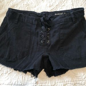 Black Lace-Up Shorts